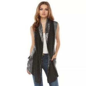 Juicy Couture Black & Gray Sequin Vest
